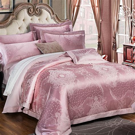 luxury bedding sets king size 2017 pink stain jacquard luxury bedding set 4pcs king