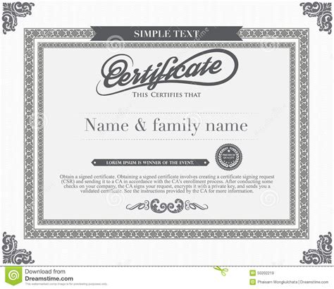certificate template illustrator vector certificate template stock vector image 50202219