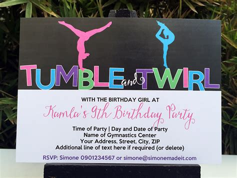 Sends Out Invites For Bday Bash by Gymnastics Birthday Theme Printables Diy Templates
