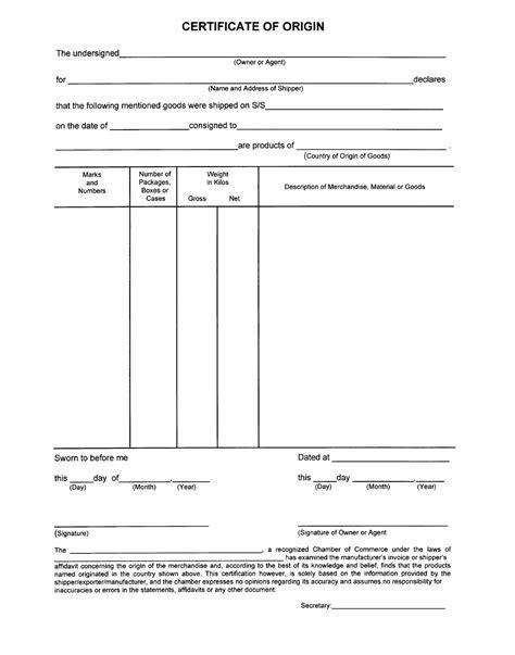 certificate of origin form template certificate of origin form sle free