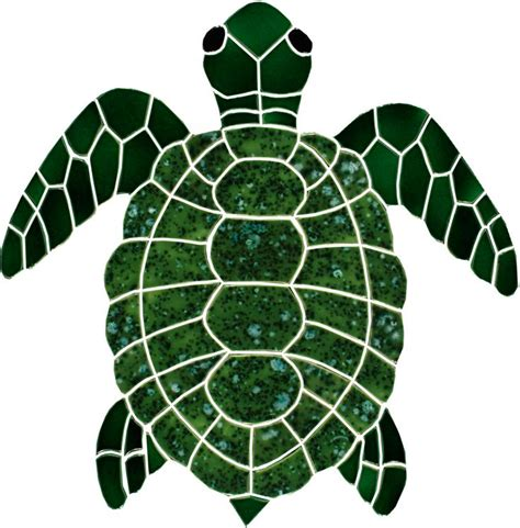 Turtle Top ceramic large green turtle top view mosaic