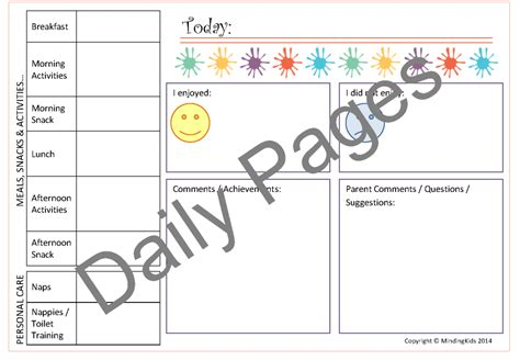 nursery daily diary template childcare contact diaries mindingkids