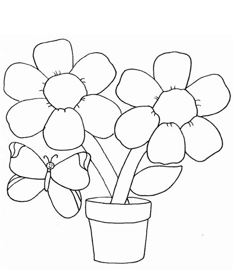 easy coloring pages to print for adults simple flower coloring page with butterfly for kids