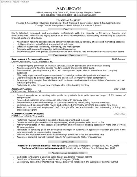 financial analyst resume format financial analyst resume template free sles