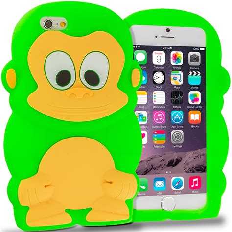neon green monkey silicone design soft skin cover for