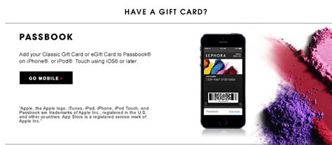Adding Gift Cards To Passbook - gift cards buy a gift card sephora