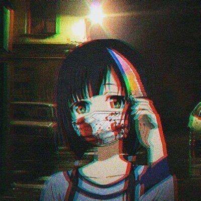 animegirl glitch icon shorthair blackhair mask