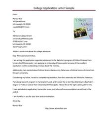 College Application Cover Letter Exles by Sle College Application Letter