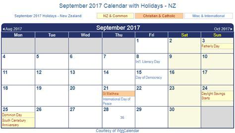 printable calendar new zealand print friendly september 2017 new zealand calendar for
