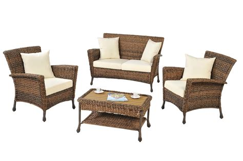 faux seagrass luxury garden patio furniture 4 pcs set with