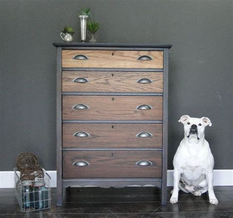Grey Stained Dresser sold antique oak ombre stained chest of drawers