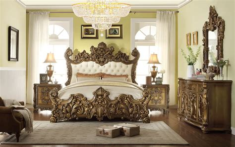 Accent Chair With Writing On It by Homey Design Hd 8008 5pc Golden Royal Palace Bedroom Set