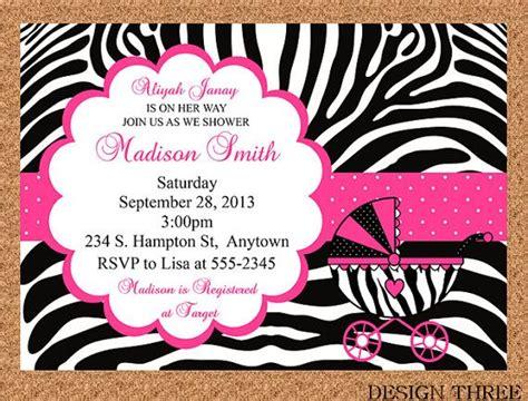Baby Shower Invitations Zebra Print by Zebra Print Baby Shower Invitation Thank You Card