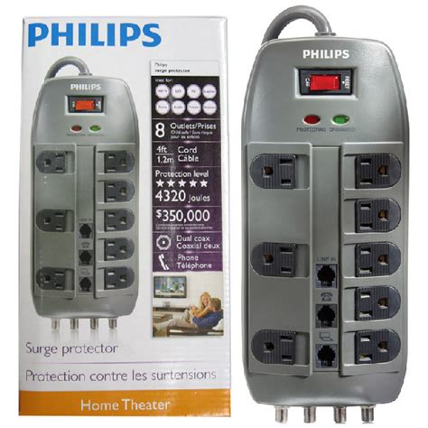 the gallery for gt surge protector p spp5085f philips surge protector8 outlets4 ft cord4320 joules