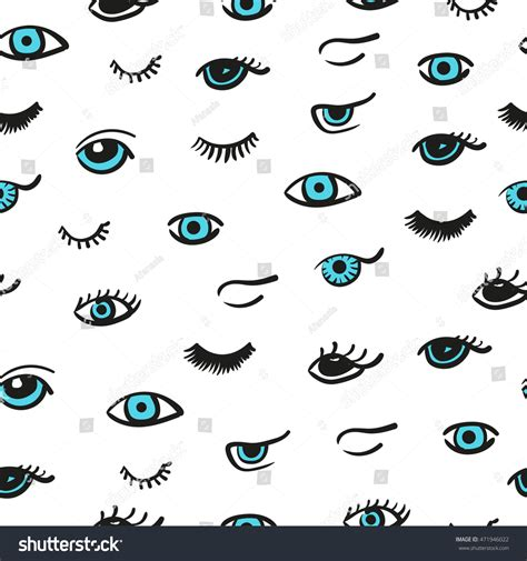 stiletto pattern in blue eyes doodle eyes seamless pattern vector background stock