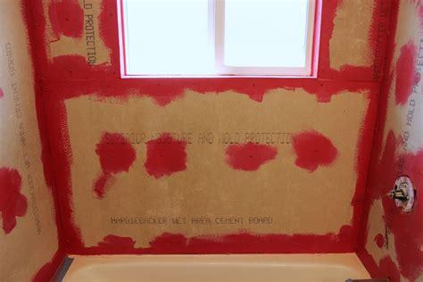 tile  showertub surround part  laying  tile