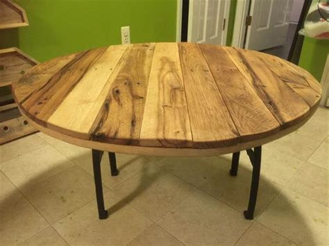 Pallet Round Coffee Table With Metal Base 101 Pallets Pallet Wood Table Top