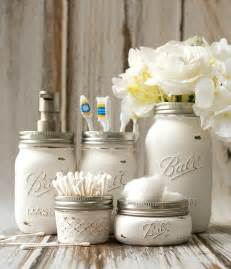 Bathroom Craft Ideas mason jar crafts painted distressed bathroom organizer soap dispenser