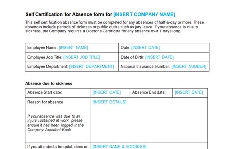 self certification sickness form template absence leave bizorb