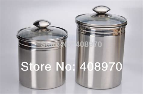 stainless steel kitchen canister 304 stainless steel 2 kitchen canister set countertop storage sealed cans with lid