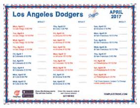dodgers home schedule printable 2017 los angeles dodgers schedule
