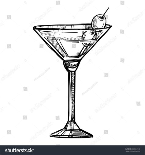vintage martini illustration alcoholic cocktail sketch vector stock vector