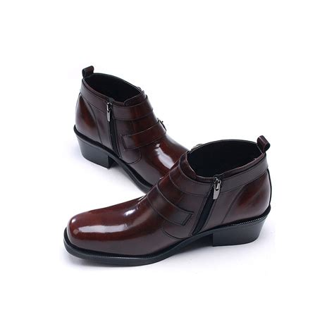 high heels mens shoes mens buckle brown leather boots