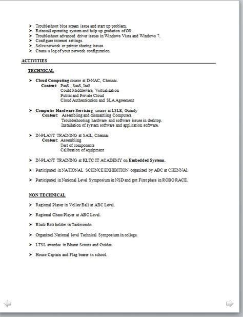 resume format for engineers electronic engineer resume format