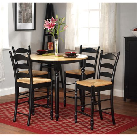 walmart dining room sets rush seat 5 piece counter height dining set black and