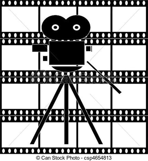 drawings of filmstrip with movie camera black and white