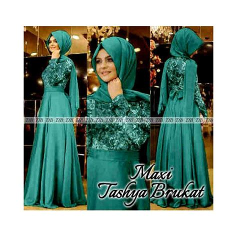 Abstrak Dress Ori Gamis Cantik Simple maxi tashya brukat model baju pesta muslim terbaru butik destira