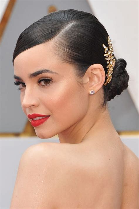 sofia carson straight dark brown bun updo hairstyle