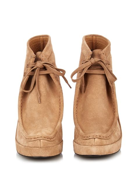Duos Suede Wedge Boots by Balenciaga Lace Up Wedge Suede Ankle Boots In Lyst