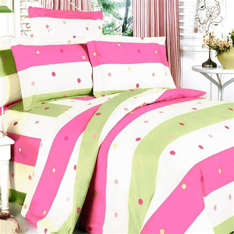 pink and green comforter set pink green polka dot striped teen girl bedding twin full
