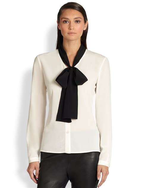 30029 White Tie Blous lyst st silk contrast tie blouse in black