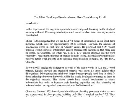 Recalled To Essay by The Effect Chunking Of Numbers Has On Term Memory Recall A Level Psychology Marked By