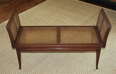 cane bench dunbar style midcentury wood cane bench for sale at 1stdibs
