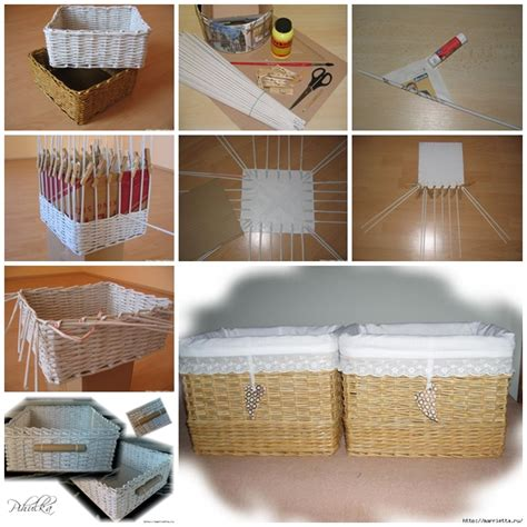 How To Make A Paper Weave Basket - diy basket woven from recycled newspaper