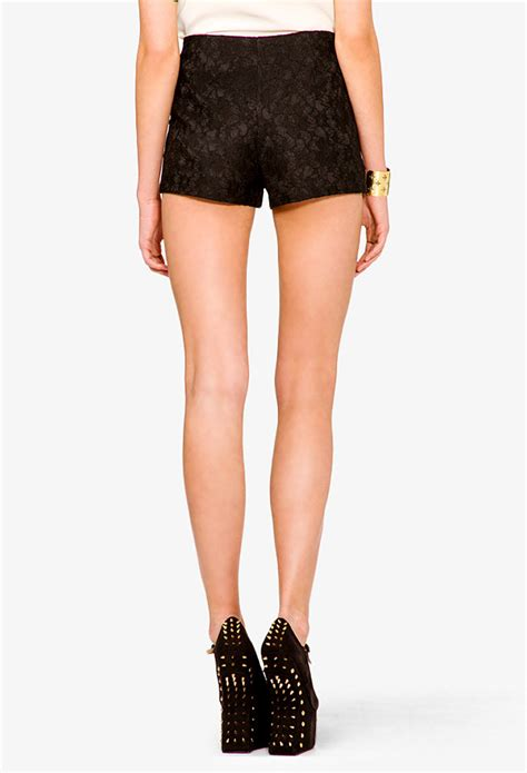 High Waist Snow With Lace lyst forever 21 high waisted lace shorts in black