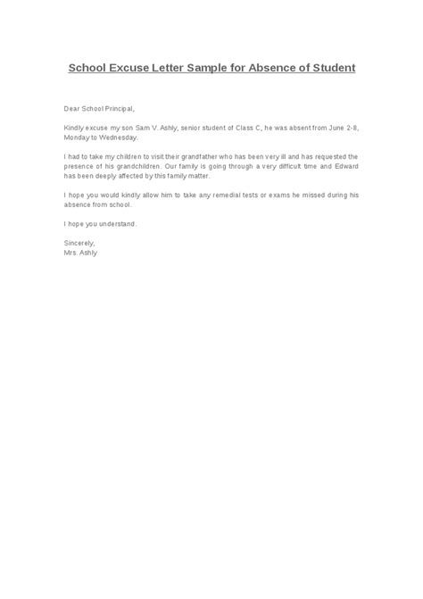 Excuse Letter For Absence Format Of Excuse Letter Best Template Collection