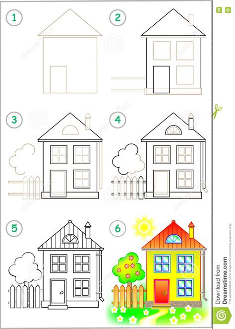how to draw a house for kids step by step drawing page shows how to learn step by step to draw a house