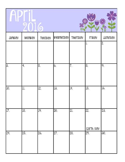 April Calendar April 2016 Calendar