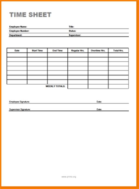 free printable time sheets templates 6 free printable time sheets timeline template