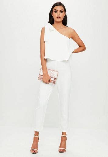 white  shoulder bow jumpsuit missguided