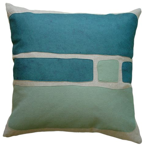 houzz pillows felt appliqu 233 linen pillow big block brook loden