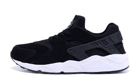 nike air huarache for black w white sole suede running