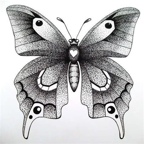 awesome butterfly dotwork tattoo design
