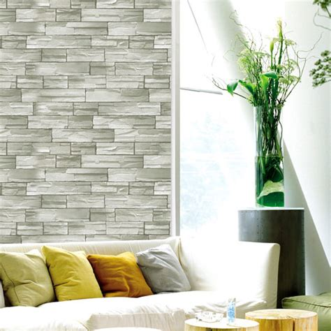 self sticking wallpaper light green gray stone brick self adhesive wallpaper