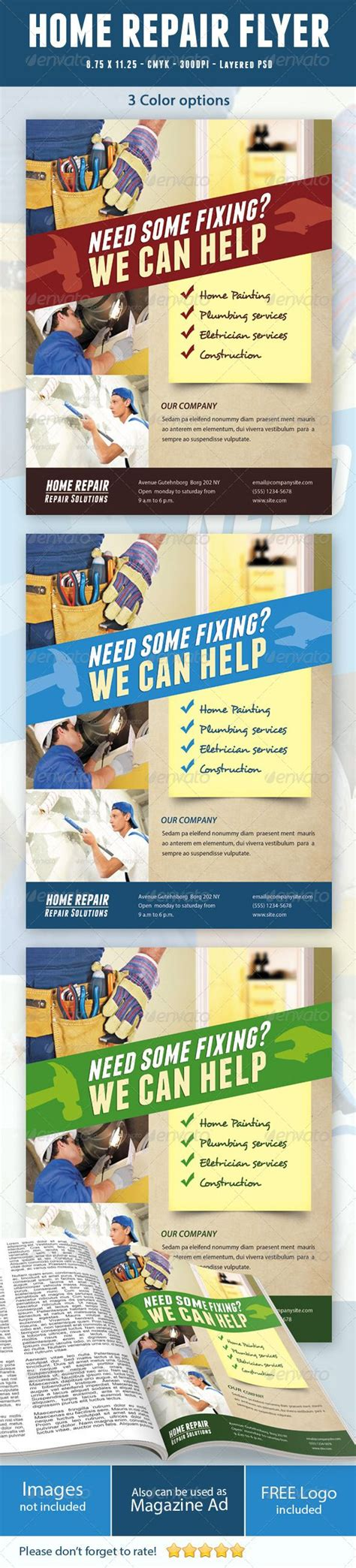 Home Repair Flyer Graphicriver Home Repair Flyer This Flyer Can Be Used In Any Business Like Home Improvement Flyer Template