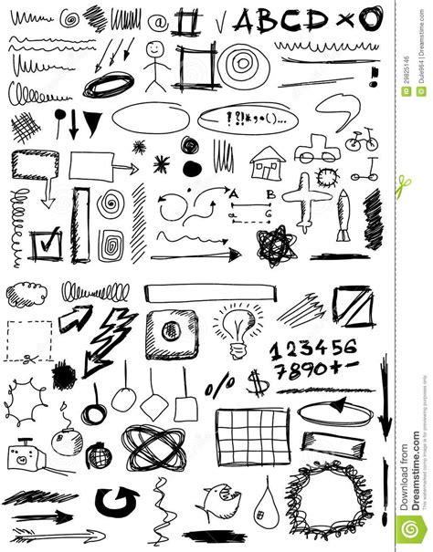 doodle numbers free doodle numbers shapes circle square line royalty free